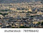 aerial view on paris rooftops... | Shutterstock . vector #785986642