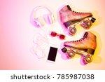 retro pink glittery roller... | Shutterstock . vector #785987038