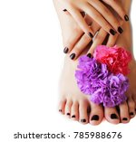 manicure pedicure with flower... | Shutterstock . vector #785988676