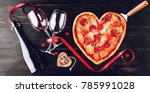Pizza In The Shape Of Heart An...