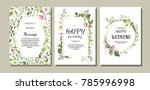 botanic card with wild flowers ... | Shutterstock .eps vector #785996998
