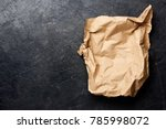 brown packaging paper on black... | Shutterstock . vector #785998072