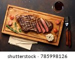 grilled black angus steak and a ... | Shutterstock . vector #785998126