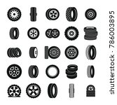 tire wheel icons set. simple... | Shutterstock . vector #786003895