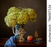 greeny yellow hydrangea bouquet ... | Shutterstock . vector #786007126