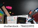 secretary desk office with... | Shutterstock . vector #786023995