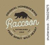 wild animal badge with raccoon... | Shutterstock .eps vector #786029875