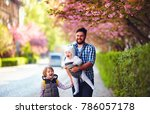 happy father with kids on the...   Shutterstock . vector #786057178