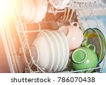 open dishwasher with clean... | Shutterstock . vector #786070438