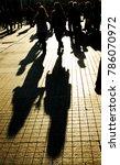 people silhouette walking down... | Shutterstock . vector #786070972