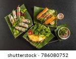a typical vietnamese cuisine... | Shutterstock . vector #786080752