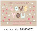 flat design valentine's card... | Shutterstock .eps vector #786086176