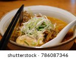 Small photo of Japanese ramen juice thickened with pork