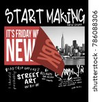 typography with new york photo... | Shutterstock . vector #786088306