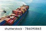 aerial view cargo ship  freight ... | Shutterstock . vector #786090865