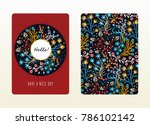 cover design with floral... | Shutterstock .eps vector #786102142