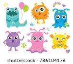 Cute little monsters vector illustration. Furry cute alien character set.