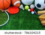 Sports equipment on green grass ...