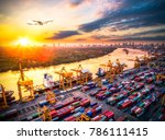 logistics and transportation of ... | Shutterstock . vector #786111415