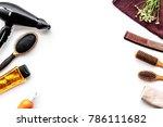 women hair care set. comb ... | Shutterstock . vector #786111682