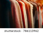 clothing items on a rack in... | Shutterstock . vector #786113962
