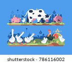 animals on farm. cow and pig ... | Shutterstock .eps vector #786116002
