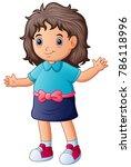 cute cartoon happy girl wearing ... | Shutterstock .eps vector #786118996