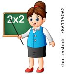 cartoon female teacher pointing ... | Shutterstock .eps vector #786119062