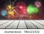 wood top on gold bokeh with... | Shutterstock . vector #786121522