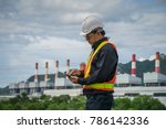 engineer with a coal power... | Shutterstock . vector #786142336