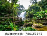 beautiful waterfall in northern ... | Shutterstock . vector #786153946
