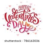 happy valentines day hand drawn ... | Shutterstock .eps vector #786163036