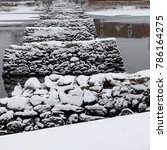 rock pylons in a river | Shutterstock . vector #786164275