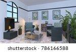 3d cg rendering of the living...   Shutterstock . vector #786166588