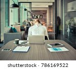 tired western businessman with... | Shutterstock . vector #786169522