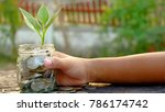 child hand holding plant... | Shutterstock . vector #786174742