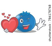 with heart blueberry character... | Shutterstock .eps vector #786178768