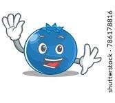 waving blueberry character... | Shutterstock .eps vector #786178816