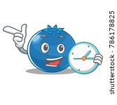 with clock blueberry character... | Shutterstock .eps vector #786178825