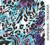animal skin leopard pattern | Shutterstock .eps vector #786182425