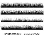 set of solid black grass... | Shutterstock .eps vector #786198922