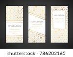 gold hexagons. invitation... | Shutterstock .eps vector #786202165