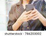close up businesswoman hand... | Shutterstock . vector #786203002