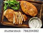grilled chicken breast in a... | Shutterstock . vector #786204382