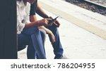 traveler backpack waiting for a ... | Shutterstock . vector #786204955