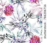watercolor peonies seamless... | Shutterstock . vector #786206716