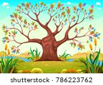 happy tree in the countryside.... | Shutterstock .eps vector #786223762