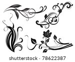black and white floral branches ...