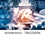 side view of hand using laptop... | Shutterstock . vector #786226006