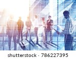 businesspeople on abstract city ... | Shutterstock . vector #786227395